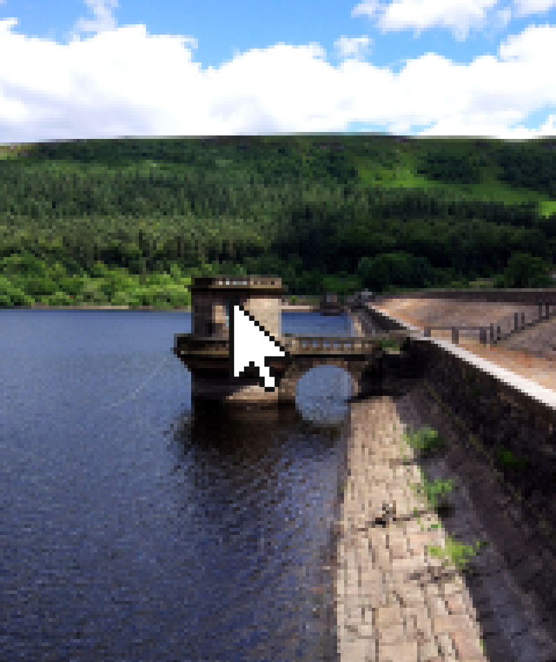 Pixellated image of Ladybower Reservoir with a white cursor on top.